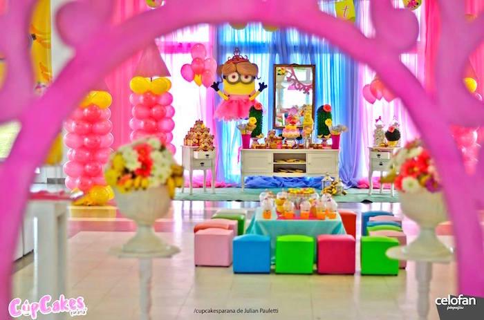 Dessert table display from a Princess Minions Themed Birthday Party via Kara's Party Ideas KarasPartyIdeas.com (32)