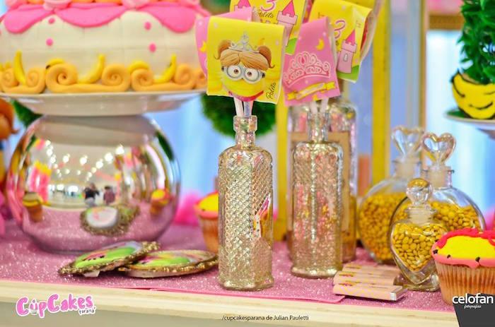 Sweet table details from a Princess Minions Themed Birthday Party via Kara's Party Ideas KarasPartyIdeas.com (29)