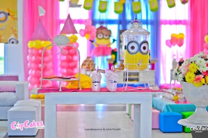 Beverage table from a Princess Minions Themed Birthday Party via Kara's Party Ideas KarasPartyIdeas.com (28)