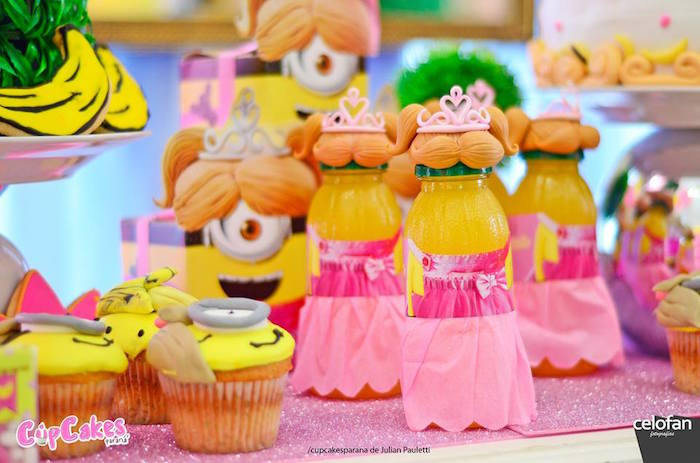Drinks, sweets and favors from a Princess Minions Themed Birthday Party via Kara's Party Ideas KarasPartyIdeas.com (24)