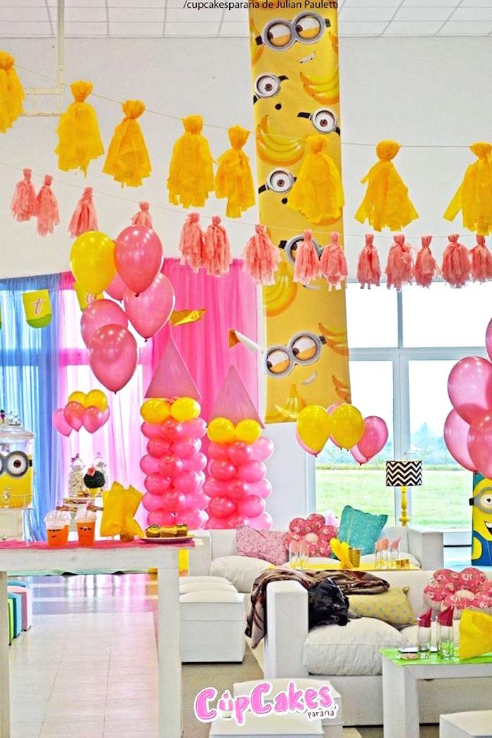 Partyscape from a Princess Minions Themed Birthday Party via Kara's Party Ideas KarasPartyIdeas.com (22)