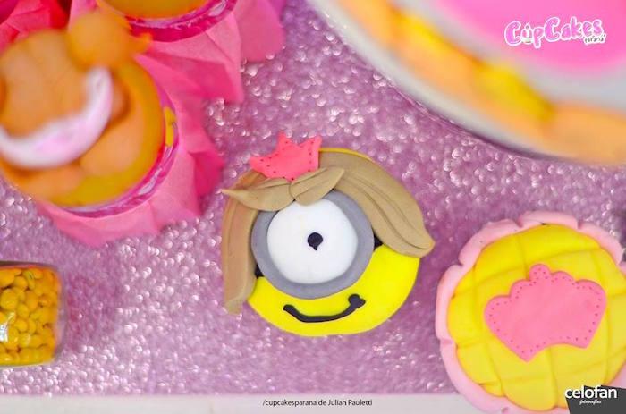 Cupcakes from a Princess Minions Themed Birthday Party via Kara's Party Ideas KarasPartyIdeas.com (20)