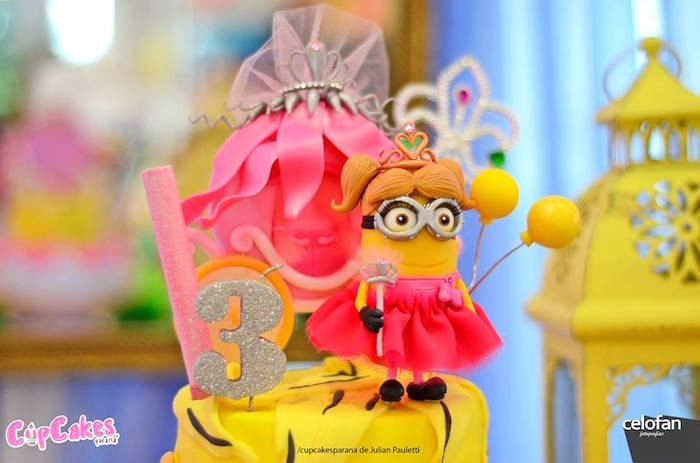 Top of a Princess Minion-inspired birthday cake from a Princess Minions Themed Birthday Party via Kara's Party Ideas KarasPartyIdeas.com (19)