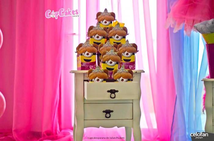 Minion favor boxes from a Princess Minions Themed Birthday Party via Kara's Party Ideas KarasPartyIdeas.com (17)