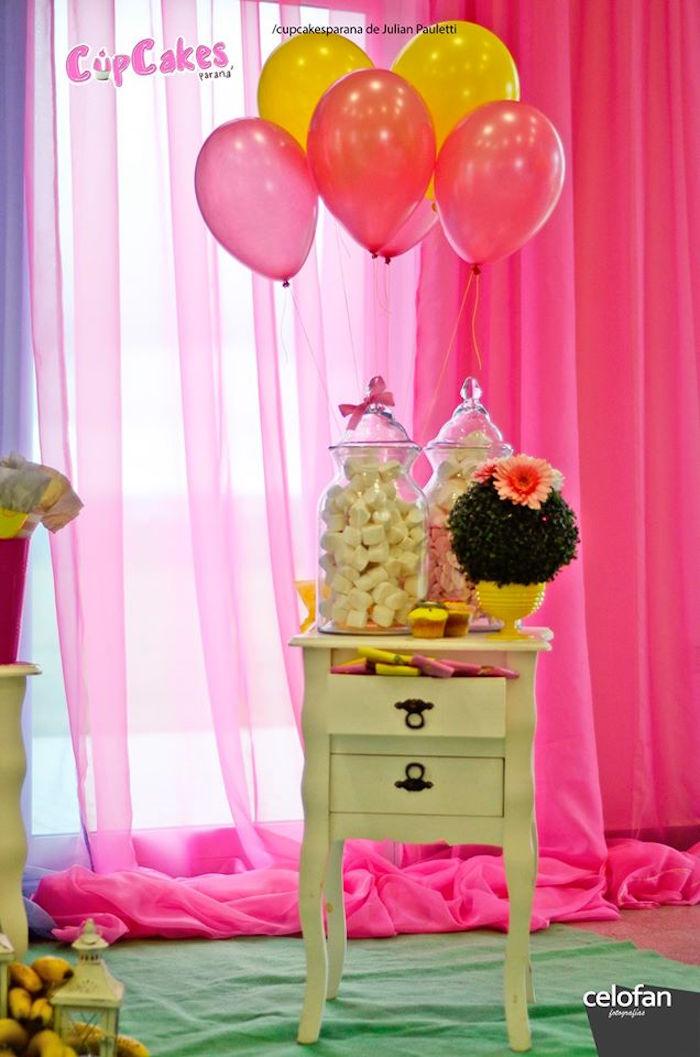 Mini decor table from a Princess Minions Themed Birthday Party via Kara's Party Ideas KarasPartyIdeas.com (15)