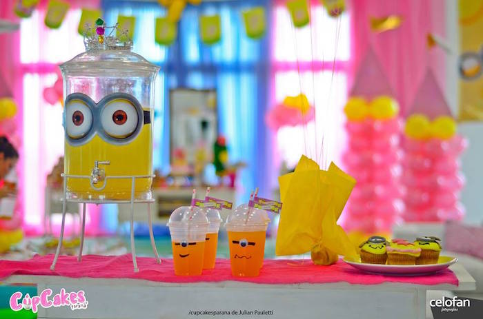 Drink table from a Princess Minions Themed Birthday Party via Kara's Party Ideas KarasPartyIdeas.com (14)