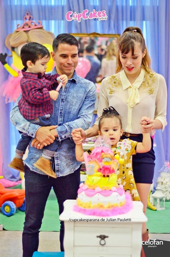 Birthday girl + family from a Princess Minions Themed Birthday Party via Kara's Party Ideas KarasPartyIdeas.com (41)