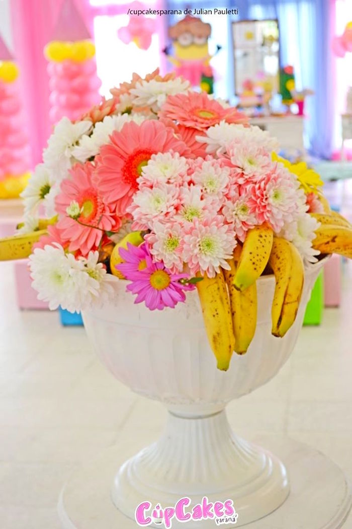 Floral centerpiece from a Princess Minions Themed Birthday Party via Kara's Party Ideas KarasPartyIdeas.com (12)