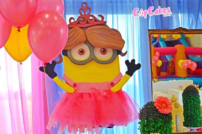 Princess Minion backdrop from a Princess Minions Themed Birthday Party via Kara's Party Ideas KarasPartyIdeas.com (10)