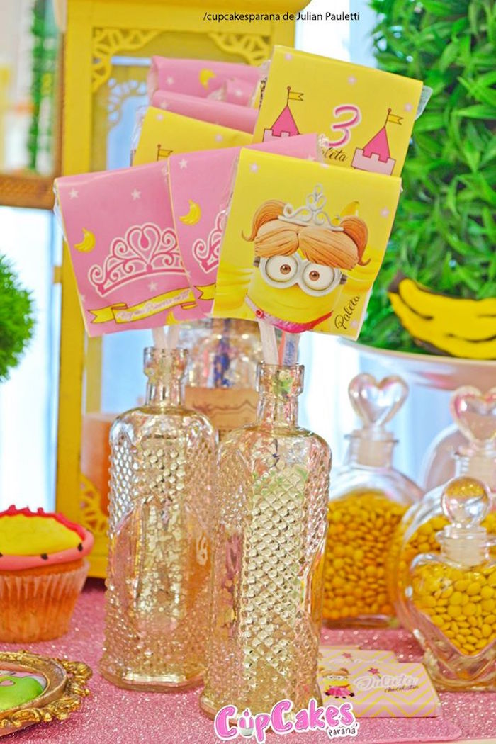 Pixie sticks placed in ornate bottles from a Princess Minions Themed Birthday Party via Kara's Party Ideas KarasPartyIdeas.com (7)