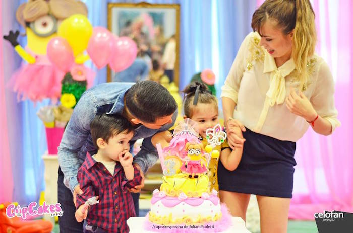 Birthday girl + family from a Princess Minions Themed Birthday Party via Kara's Party Ideas KarasPartyIdeas.com (40)