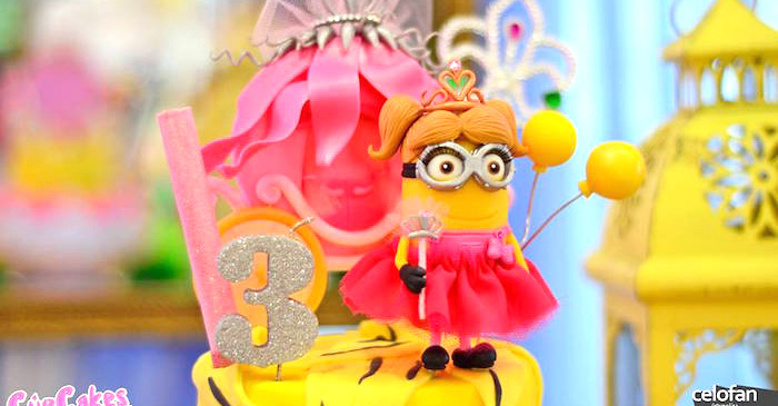 Princess Minion Cake from a Princess Minions Themed Birthday Party via Kara's Party Ideas KarasPartyIdeas.com (1)