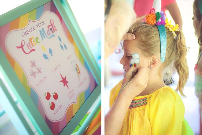 Cutie Mark face painting station from a Rainbow Unicorn Themed Birthday Party via Kara's Party Ideas | KarasPartyIdeas.com (18)