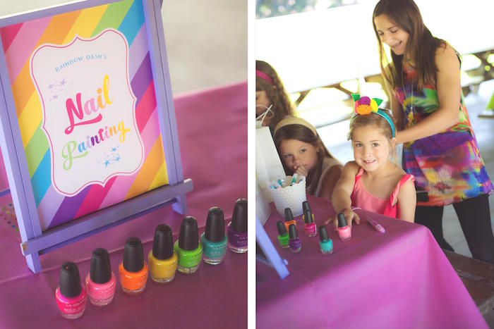 Nail Painting activity station from a Rainbow Unicorn Themed Birthday Party via Kara's Party Ideas | KarasPartyIdeas.com (15)
