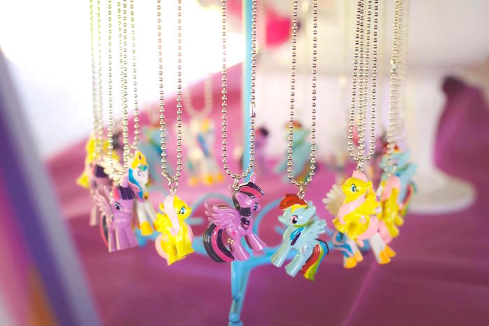 Necklace favors from a Rainbow Unicorn Themed Birthday Party via Kara's Party Ideas | KarasPartyIdeas.com (14)