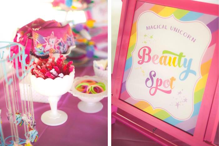 Beauty spot activity station from a Rainbow Unicorn Themed Birthday Party via Kara's Party Ideas | KarasPartyIdeas.com (13)