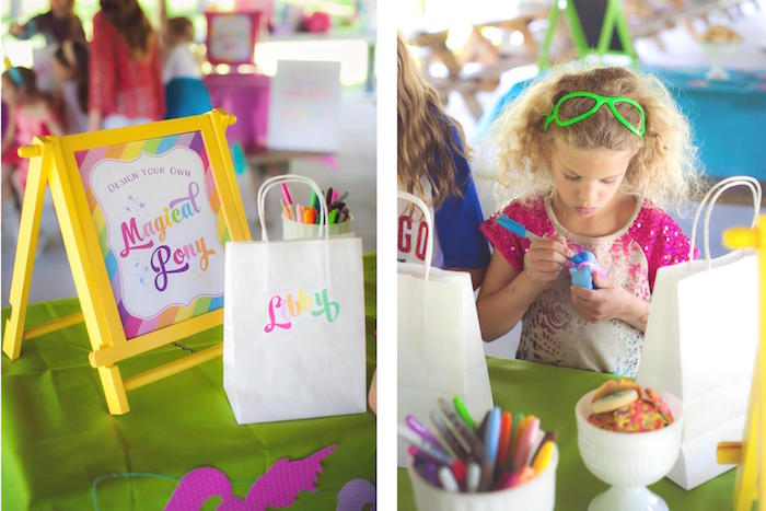 Activity station from a Rainbow Unicorn Themed Birthday Party via Kara's Party Ideas | KarasPartyIdeas.com (12)