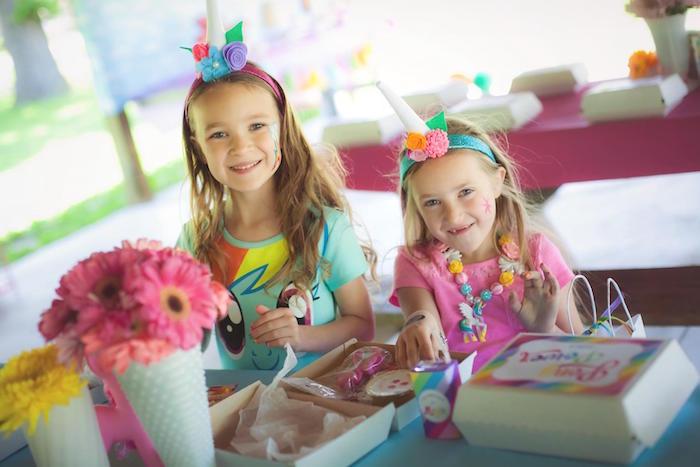 Little girls from a Rainbow Unicorn Themed Birthday Party via Kara's Party Ideas | KarasPartyIdeas.com (11)