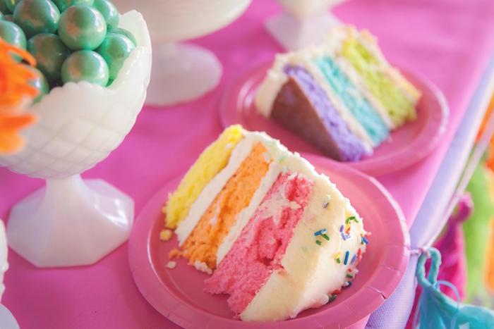 Rainbow cake slices from a Rainbow Unicorn Themed Birthday Party via Kara's Party Ideas | KarasPartyIdeas.com (8)