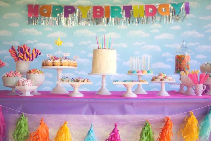 Sweet Table From A Rainbow Unicorn Themed Birthday Party Via Karas Ideas