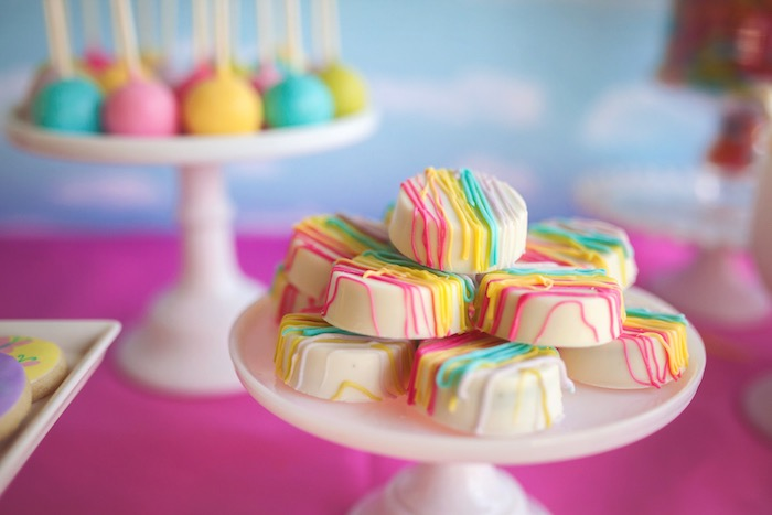 Rainbow drizzled Oreos from a Rainbow Unicorn Themed Birthday Party via Kara's Party Ideas | KarasPartyIdeas.com (4)