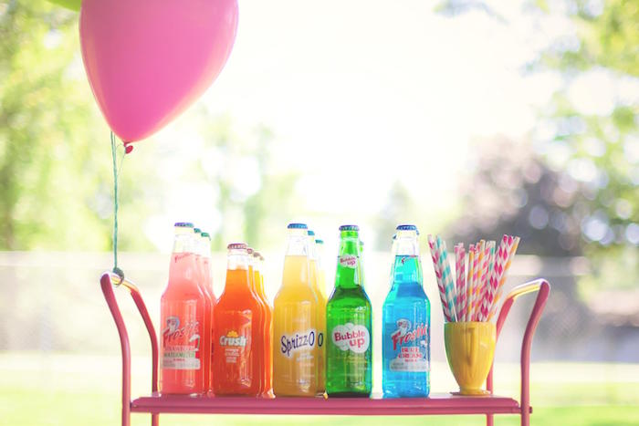 Colorful array of drinks from a Rainbow Unicorn Themed Birthday Party via Kara's Party Ideas | KarasPartyIdeas.com (25)