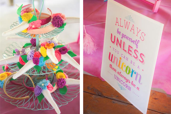 Unicorn headband favors + party signage from a Rainbow Unicorn Themed Birthday Party via Kara's Party Ideas | KarasPartyIdeas.com (22)