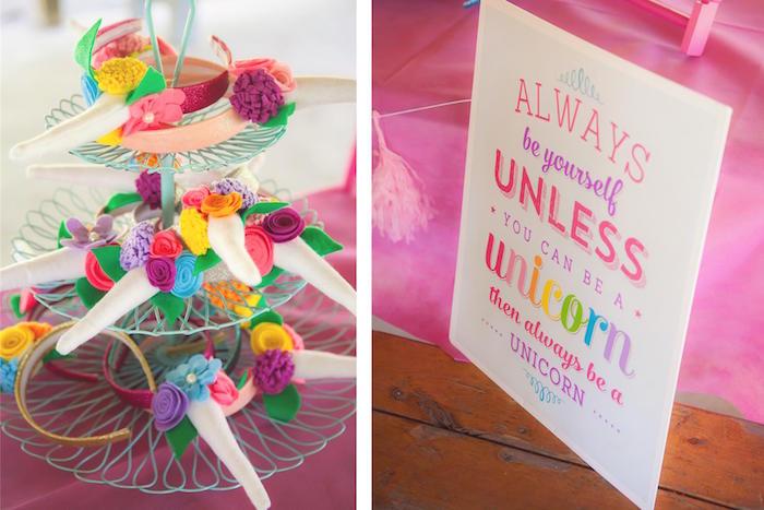 Unicorn headband favors + party signage from a Rainbow Unicorn Themed Birthday Party via Kara's Party Ideas | KarasPartyIdeas.com (22)