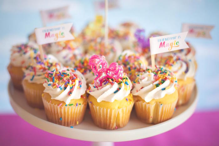 Cupcakes from a Rainbow Unicorn Themed Birthday Party via Kara's Party Ideas | KarasPartyIdeas.com (21)