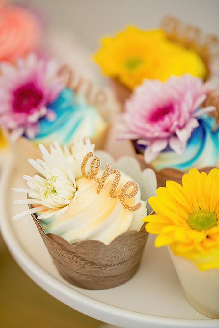 Adorable cupcakes from a Rainbowpalooza Tie Dye 1970's Inspired Birthday Party via Kara's Party Ideas KarasPartyIdeas.com (15)