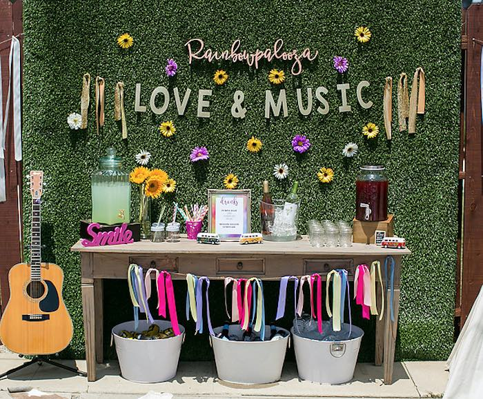 "A darling ""love & music"" drink table from a Rainbowpalooza Tie Dye 1970's Inspired Birthday Party via Kara's Party Ideas KarasPartyIdeas.com (13)"