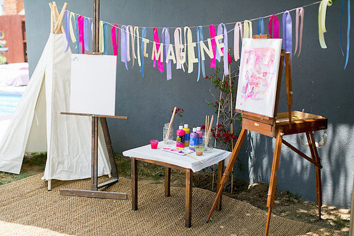 An imagination + paint station from a Rainbowpalooza Tie Dye 1970's Inspired Birthday Party via Kara's Party Ideas KarasPartyIdeas.com (12)