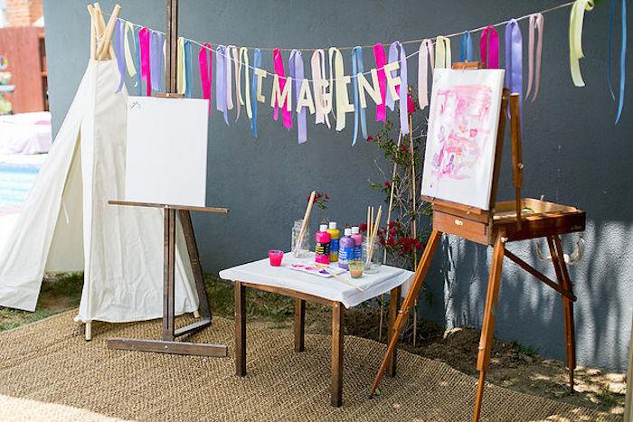 An imagination + paint station from a Rainbowpalooza Tie Dye 1970's Inspired Birthday Party via Kara's Party Ideas KarasPartyIdeas.com (12)