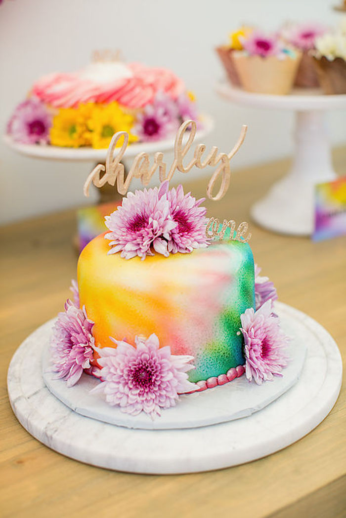 Beautiful Tie dye birthday cake from a Rainbowpalooza Tie Dye 1970's Inspired Birthday Party via Kara's Party Ideas KarasPartyIdeas.com (25)