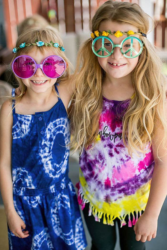 Party girls from a Rainbowpalooza Tie Dye 1970's Inspired Birthday Party via Kara's Party Ideas KarasPartyIdeas.com (3)