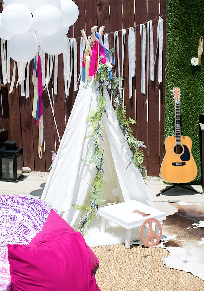 Teepee from a Rainbowpalooza Tie Dye 1970's Inspired Birthday Party via Kara's Party Ideas KarasPartyIdeas.com (23)