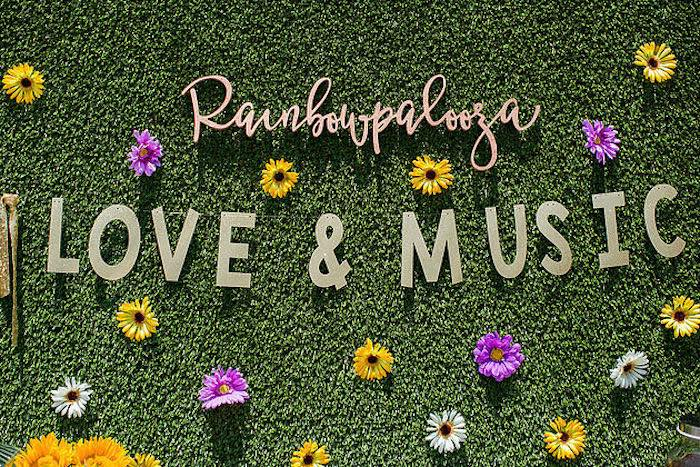 Beautiful faux grass flower backdrop from a Rainbowpalooza Tie Dye 1970's Inspired Birthday Party via Kara's Party Ideas KarasPartyIdeas.com (19)