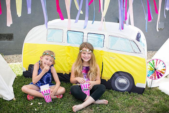 Little girls from a Rainbowpalooza Tie Dye 1970's Inspired Birthday Party via Kara's Party Ideas KarasPartyIdeas.com (17)