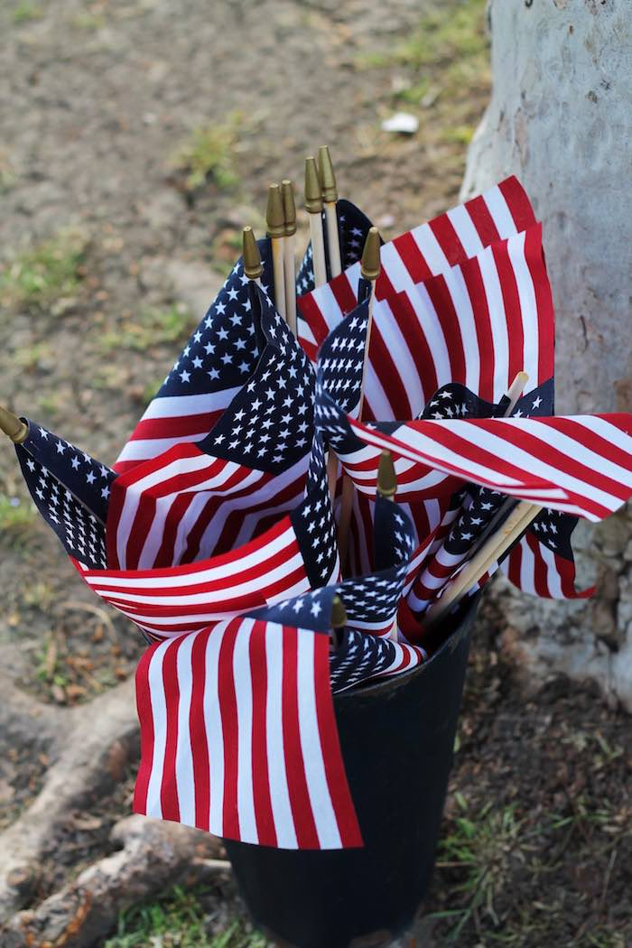 American Flags from a Red + White & Blue Outdoor Summer 4th of July Celebration via Kara's Party Ideas - KarasPartyIdeas.com (70)