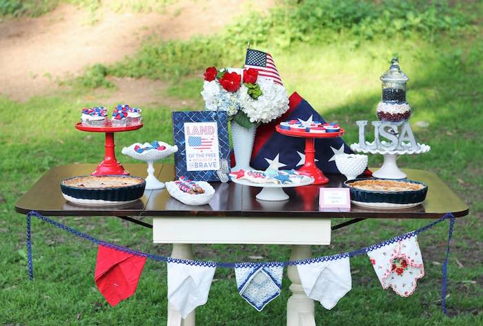 Patriotic Sweet Table from a Red + White & Blue Outdoor Summer 4th of July Celebration via Kara's Party Ideas - KarasPartyIdeas.com (63)