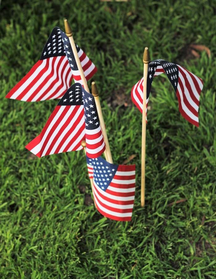 American Flags from a Red + White & Blue Outdoor Summer 4th of July Celebration via Kara's Party Ideas - KarasPartyIdeas.com (62)