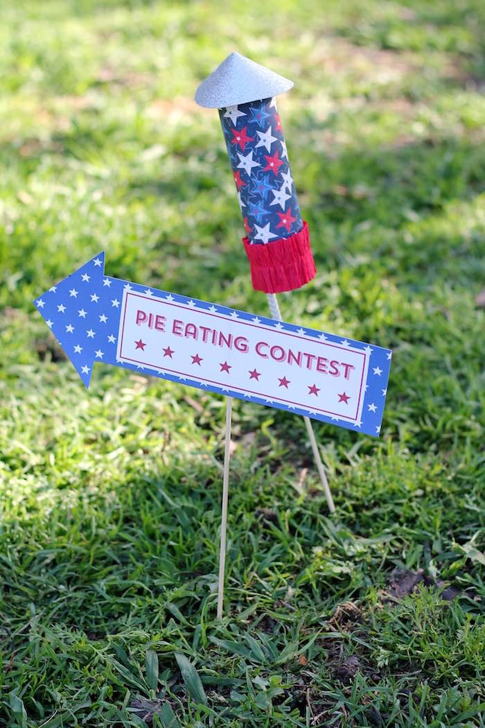 Firework party sign from a Red + White & Blue Outdoor Summer 4th of July Celebration via Kara's Party Ideas - KarasPartyIdeas.com (80)