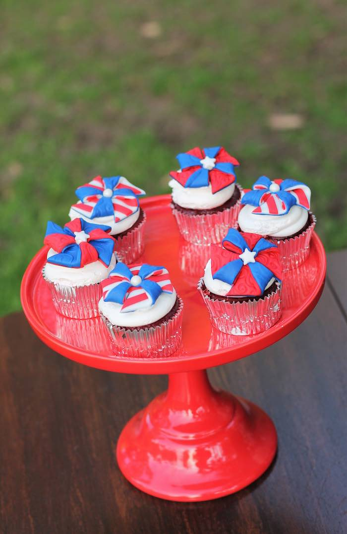 Cupcakes from a Red + White & Blue Outdoor Summer 4th of July Celebration via Kara's Party Ideas - KarasPartyIdeas.com (61)