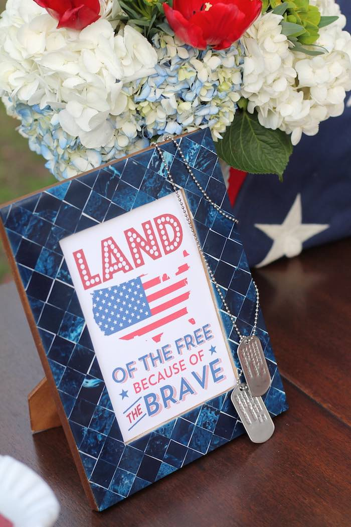 Party signage from a Red + White & Blue Outdoor Summer 4th of July Celebration via Kara's Party Ideas - KarasPartyIdeas.com (56)