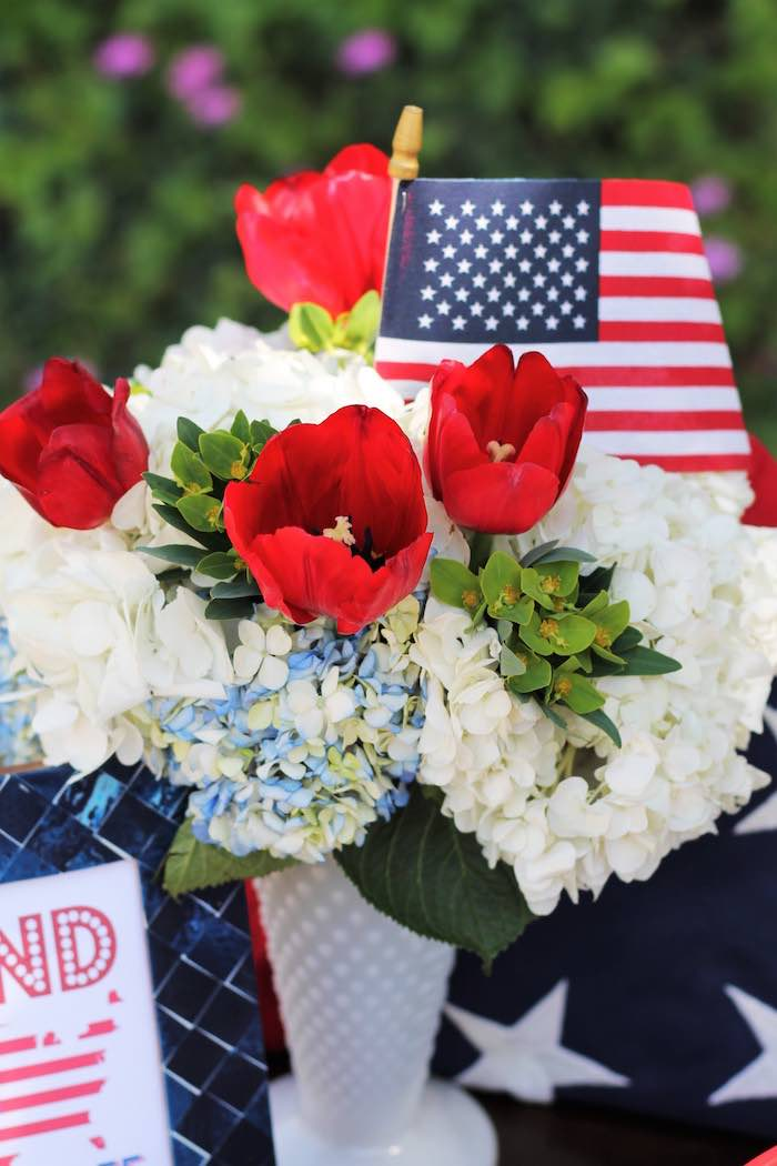 Floral arrangement from a Red + White & Blue Outdoor Summer 4th of July Celebration via Kara's Party Ideas - KarasPartyIdeas.com (55)