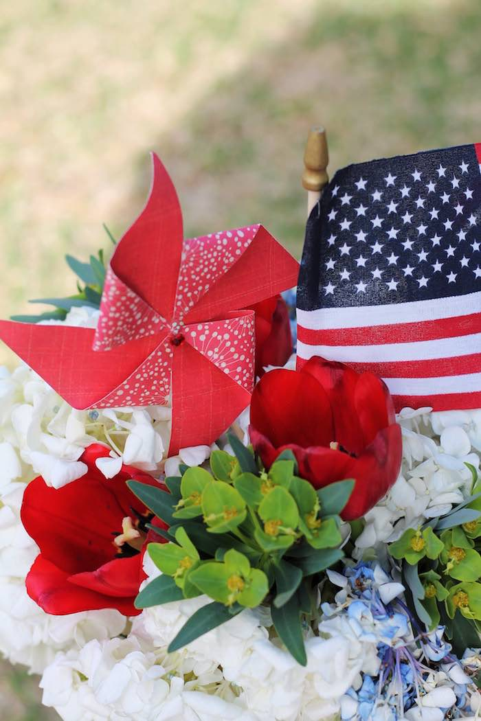 Floral arrangement from a Red + White & Blue Outdoor Summer 4th of July Celebration via Kara's Party Ideas - KarasPartyIdeas.com (54)