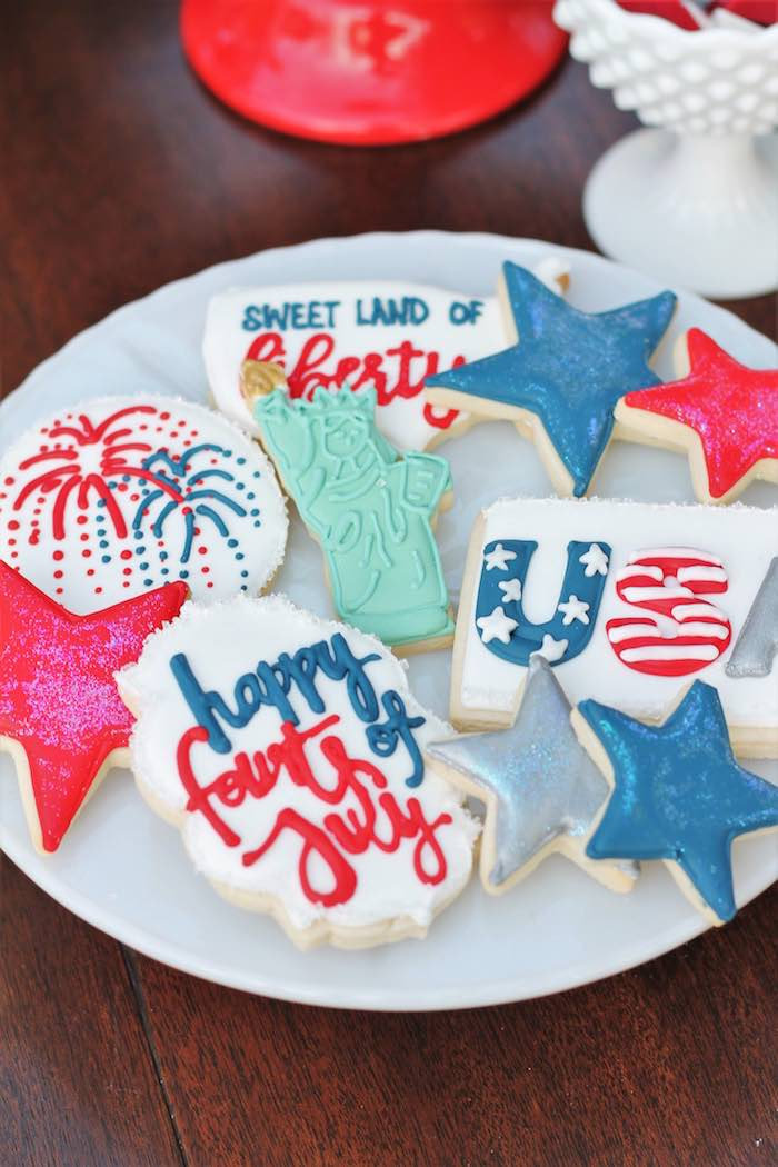 Adorable patriotic cookies from a Red + White & Blue Outdoor Summer 4th of July Celebration via Kara's Party Ideas - KarasPartyIdeas.com (53)