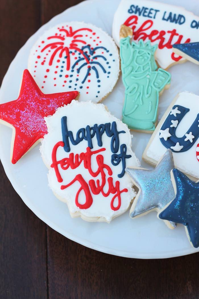 Patriotic cookies from a Red + White & Blue Outdoor Summer 4th of July Celebration via Kara's Party Ideas - KarasPartyIdeas.com (52)