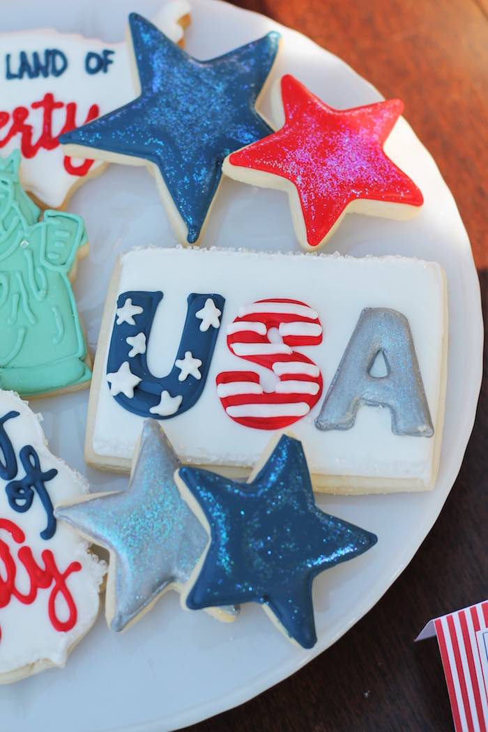 Patriotic cookies from a Red + White & Blue Outdoor Summer 4th of July Celebration via Kara's Party Ideas - KarasPartyIdeas.com (51)