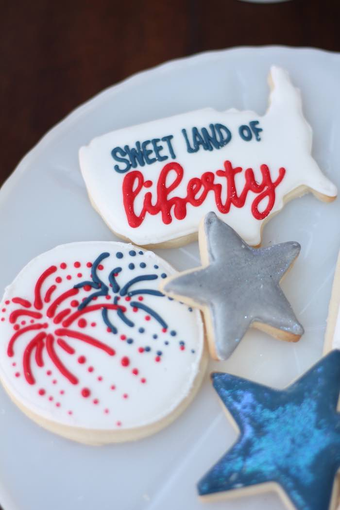 Patriotic cookies from a Red + White & Blue Outdoor Summer 4th of July Celebration via Kara's Party Ideas - KarasPartyIdeas.com (50)